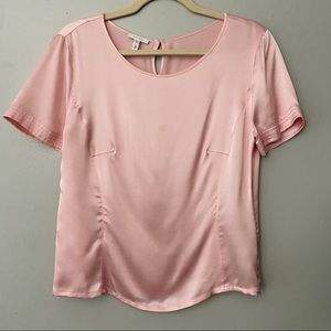 Escada Pink Silk Short Sleeve Top
